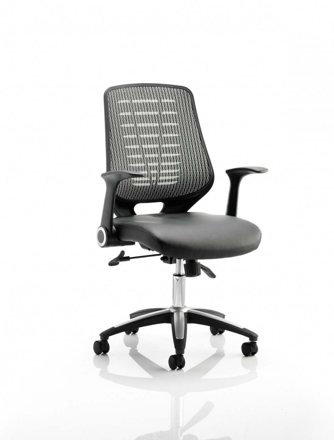 Office Chairs Relay Silver Mesh Office Chair W Leather Seat